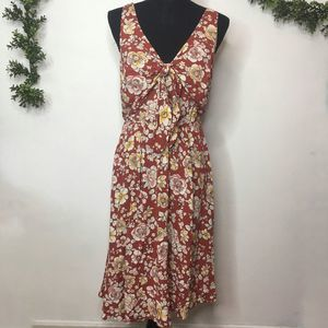 Torrid Brown Floral Tie Front Midi Dress